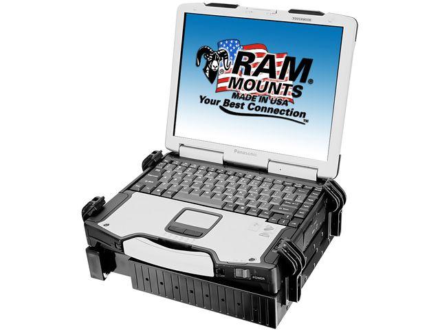 """obsah balení RAM Mounts profesionální stativ s univerzálním držákem na notebook 10"""" až 16"""", sestava RAM-TRIPOD1-234-3"""