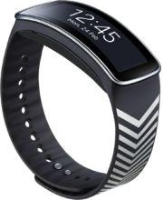 Samsung výměnný pásek ET-SR350RB pro Gear Fit - speciální edice, Black + Silver Chevron