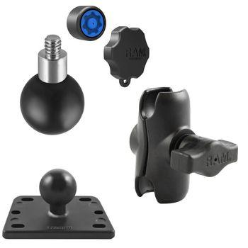 RAM Mounts držák pro malé kamery a fotoaparáty s krátkým ramenem se zabezpečením na motorku na nádržku brzdové kapaliny, sestava RAM-B-182-237-KNOB3-AU