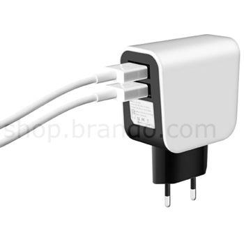 Nabíječka síťová Brando USB/dual 230V, 5.1V/1x2.1A a 1x1A