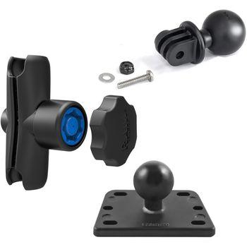 RAM Mounts adaptér pro outdoorové kamery GoPro Hero s ramenem se zabezpečením na motorku na nádržku brzdové kapaliny, sestava RAM-B-182-GOP1-KNOB3U