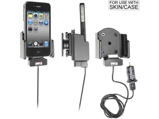 obsah balení Brodit držák do auta pro Apple iPhone 4/4S (nast. šířka, pro obal - ne orig.Bumper) s nabíjením + adaptér pro snadné odebrání držáku z proclipu