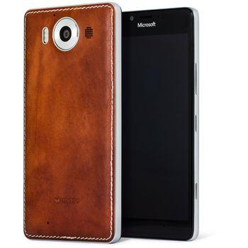 Mozo kožený kryt pro bezdrátové nabíjení pro Lumia 950, hnědý