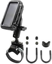 RAM Mounts vodotěsný držák na mobilní telefon na motorku nebo kolo na řídítka, AQUABOX™ malý, Ø objímky 12,7-31,75 a 40-80 mm, sestava RAM-B-149Z-2-AQ3
