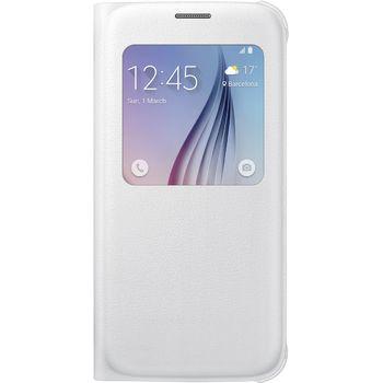 Samsung flipové pouzdro S-View EF-CG920PW pro Galaxy S6, imitace kůže, bílá