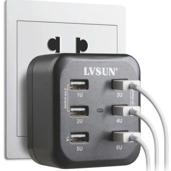 LVSUN multinabíječka 34W 6.8A, 6 USB portů