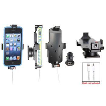 Brodit držák do auta pro iPhone 5/5S v pouzdru s průchozím konektorem, konektor Belkin v balení + zadní kryt Spigen černý