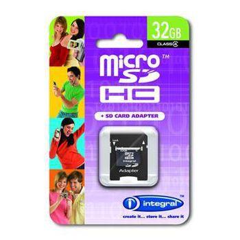 Integral microSDHC 32GB Class 4 paměťová karta + redukce na SD