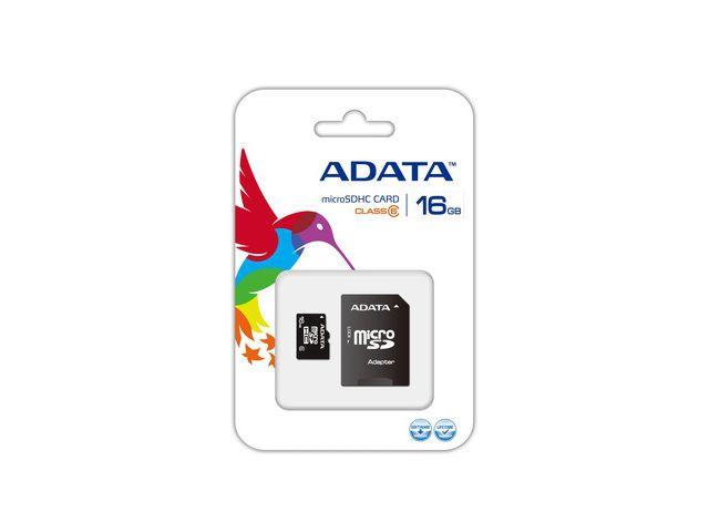 obsah balení Adata microSDHC 16GB Class 6 paměťová karta + adaptér SDHC