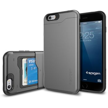 Spigen pevné pouzdro Slim Armor CS s přihrádkou na karty pro Apple iPhone 6 Plus, šedá